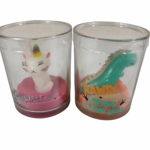 """Candle TWO lot Cat """" Meowgical & DINOSAUR Rawr .."""